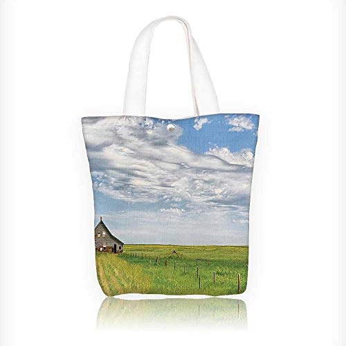 Canvas Shoulder Hand Bag Timber House in Terrain Grassland with Clouds in Air Landscape Green Blue Tote Bag for Women Large Work tote Bag Shoulder Travel Totes Beach Bag W16.5xH14xD7 INCH ()