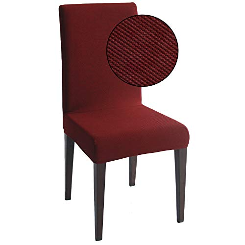 Burgundy Jacquard Spandex Dining Chair Covers - 4 PCS Stretch Removable Washable Dining Chair Slipcovers (Burgundy Jacquard, 4)