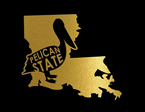 ND211G Louisiana The Pelican State Decal Sticker | 6.5-Inches By 5.6-Inches | Premium Quality Gold Vinyl -