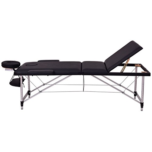 Black 72''L Portable Massage Table Heavy Duty Aluminum Frame Salon SPA Chair Beauty Height Adjustable Table Tattoo Parlor Facial Bed Multi Purpose Professional Therapists Chiropractors Home Therapy