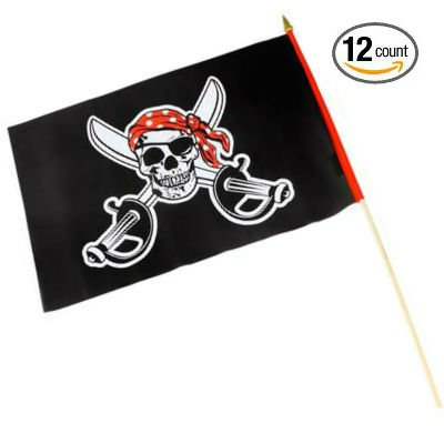 Set of 12 Pirate Polyester Stick Flags 12