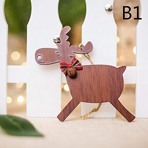 Pendant & Drop Ornaments - 1pc Wood Elk Pendant Christmas Tree Decor Xmas Party Deer Pendants 4 Styles Festival - Locket Deer Pendant Life Ornament Drop Leather Elk Base Bambi Deer Elk Ta