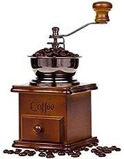 Echoming Molinillo de Café Manual, Mini de Máquina Grano Molino Portátil de Estilo Vintage Madera de Manivela Coffee Grinder con Cuchillas Profesionales de Cerámica - Regalo para Amigo