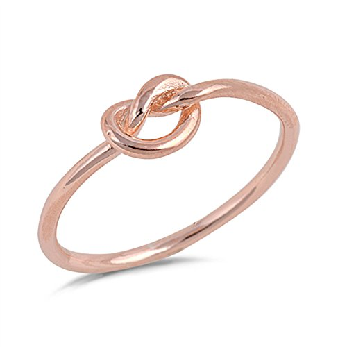 Rose Gold-Tone Infinity Knot Promise Ring .925 Sterling Silver Band Size 7