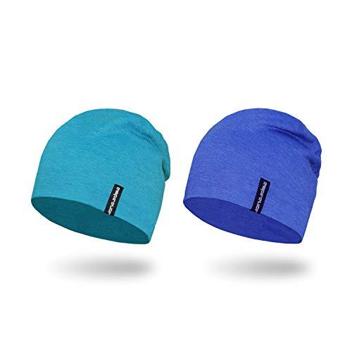(Empirelion Slouch Beanies Knit Hat Thin Running Lightweight Skull Cap for Men Women ([2 Pack] Royal Melange+Blue Melange))