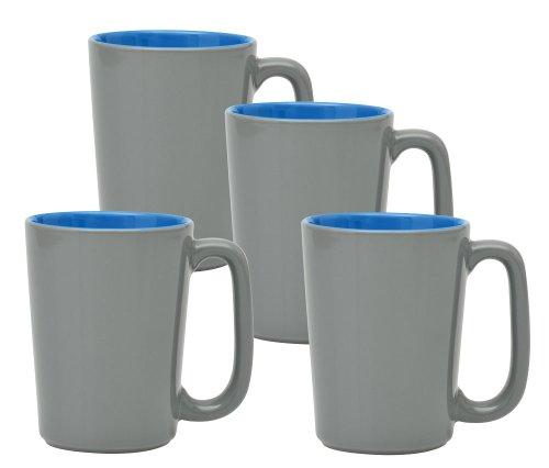 Culver Slat Mug  16 Ounce  Grey Ocean Blue  Set Of 4