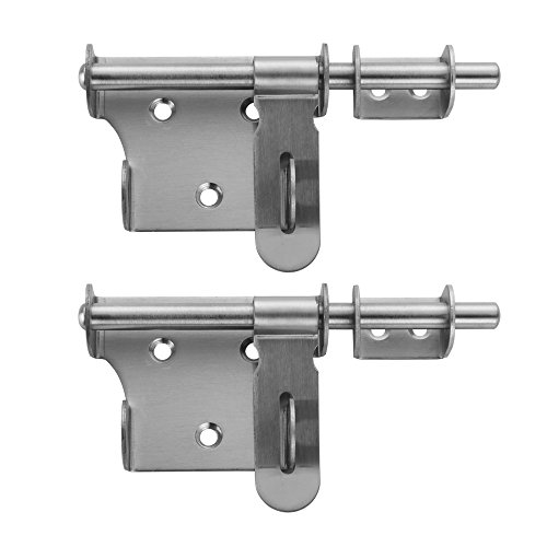 JQK Sliding Gate Latch 6 Inch, Thickening Stainless Steel Barrel Bolt with Padlock Hole, Interior Door Latches Brushed Finish, 2 Pack