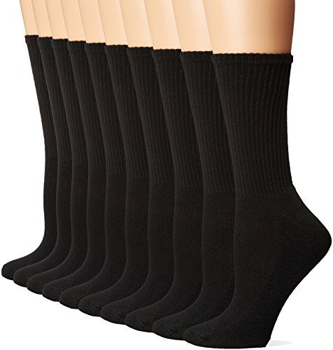 Gildan Women's Half Cushion Crew Socks, 10 Pairs, black, Shoe Size: 4-10