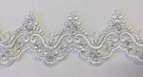 2 Yards, Bridal Lace Trim on Organza, Pearls and Clear Sequins, for Veil, Wedding Dresses, Garments, (White, Silver Cording, Reflective Sequins), 4