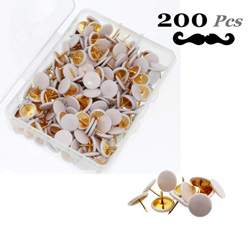 Wehomer Colorful Push Pins Plastic Round Head Thumb Tacks, Creative Decorative Tacks for Wall Maps, Photos, Documents, Bulletin Board or Cork Boards (White) ()