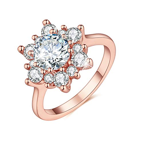 Flower Cubic Stone - Madeone ✦ 18K White Gold Plating Excellent Cut Cubic Zirconia CZ Stone Snowflake Flower Simulation Diamond Ring for Women with Box Packing Size 6-10 (Rose Gold, 8)