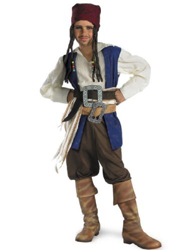 Disguise Disney Pirates Of The Caribbean Captain Jack Sparrow Classic Boys Costume, Small/4-6 ()