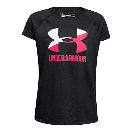 Under Armour Girls Solid Big Logo Short Sleeve T-Shirt, Black /Penta Pink, Youth Large