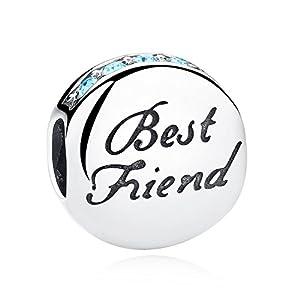 XingYue Jewelry 925 Sterling Silver Best Friend Heart BFF Charm Beads Heart Friendship Bead Charms Fit European Bracelets (Best Friend Bead Charm)