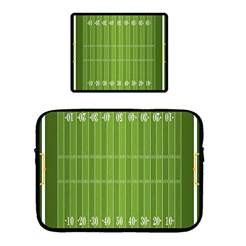 Beach Surfers Football Sports Field Green Yard Games Protective Laptop Sleeve Tablet Computer Waterproof Case Cover with Gaming Mouse Pad Mousepad for Women Men Girls Boys ()