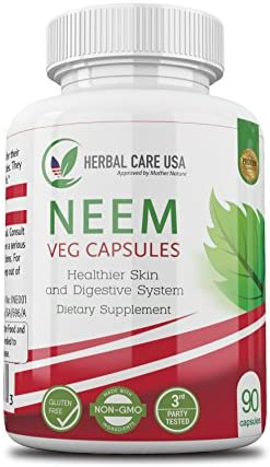 Premium Neem by Herbal Care USA Superfood to Assist with Healthier Skin, Digestive System, and Immune Support Small, Easy to Swallow Vegan Capsules