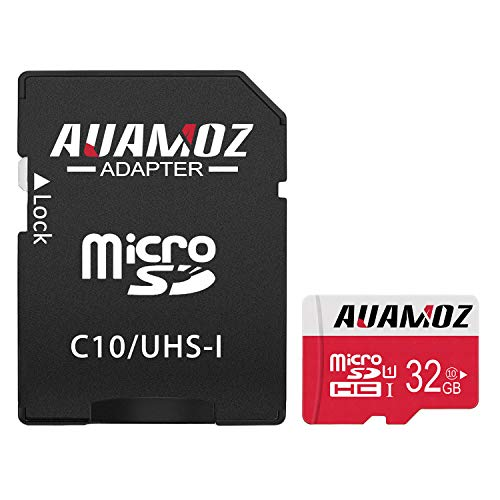 - Micro SD Card 32GB, AUAMOZ MicroSDHC Class 10 UHS-I Card for Phone, Tablet and PCs - with Adapter (Red/White)