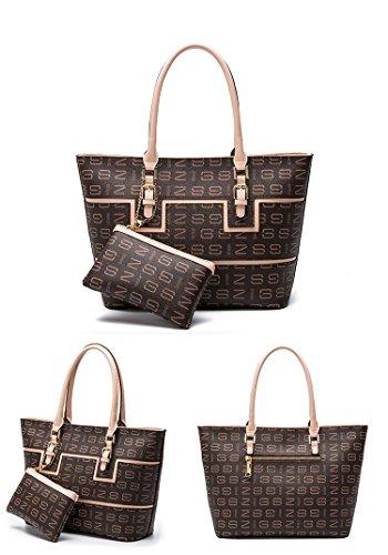Bolso de cuero de la vaca del diseño elegante para las mujeres Bolso de la gran capacidad para el bolso de las compras con el conjunto de bolso de la mujer desprendible de la cartera (Rojo) Marrón y rosa