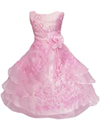Little/Big Girls Embroidered Beaded Flower Girl Birthday Daddy-Daught Party Dress with Petticoat