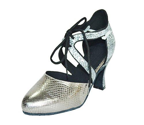 Tda Kvinners Lukket Tå Lisse Opp Syntetisk Salsa Tango Ballroom Latin  Moderne Dans Sko Grå