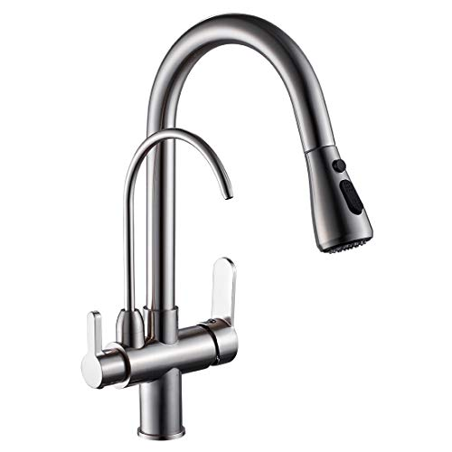 WANFAN Modern Pull Down Kitchen Sink Faucet 3 in 1 Water Filter Purifier Faucet Brushed Nickel