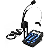 Dansrue 2018 Call Center Phone with Noise Cancelling Headset, Corded Dialpad Telephone and Headphones for Office Business and Home (Blue 1)