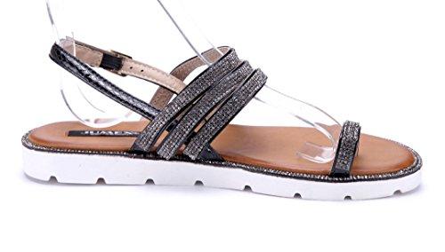 Schuhtempel24 Damen Schuhe Zehentrenner Sandalen Sandaletten Flach Ziersteine Schwarz