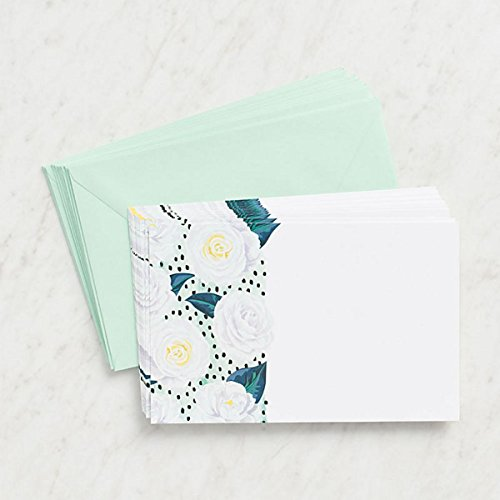 Waste Not Paper, Invitation Flat Greeting Card with Envelope, Camellia Dots, 5.75