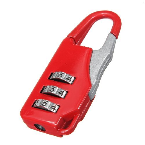 Well-Goal Mini Protable 3 Digit Combination Security Travel Luggage Suitcase Password Lock Padlock Red