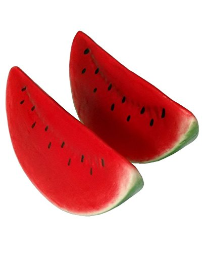Slice Watermelon (Mezly 6pc Artificial Watermelon Slice - Plastic Green Red Watermelons Slices Fruit - Six Pieces)