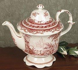 RED TOILE kitchen PORCELAIN TEAPOT tea pot toille NEW
