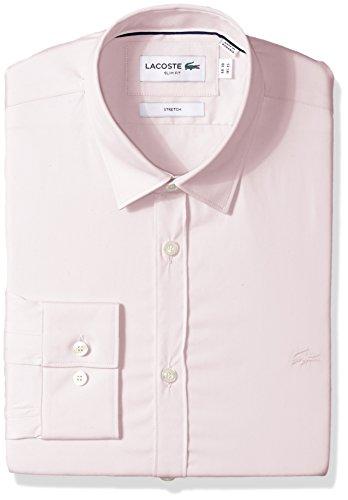 (Lacoste Men's Long Sleeve Solid Stretch Poplin Slim Woven Shirt, CH9628, Fairy Pink, 15)