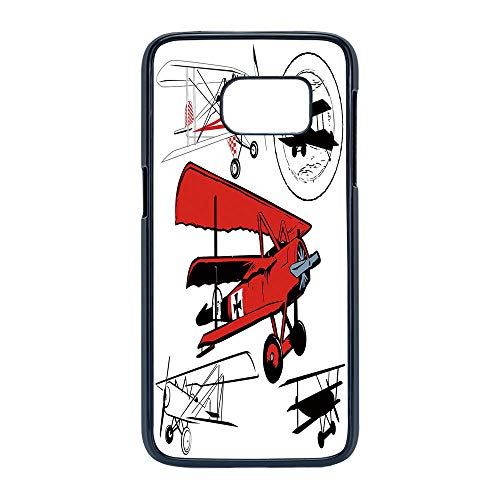 (Cell Phone Case Compatible Samsung Galaxy S7,Vintage Airplane Decor - Hard Plastic Phone Case/Black - Collection of Various Biplanes Nostalgic Antique Silhouettes )