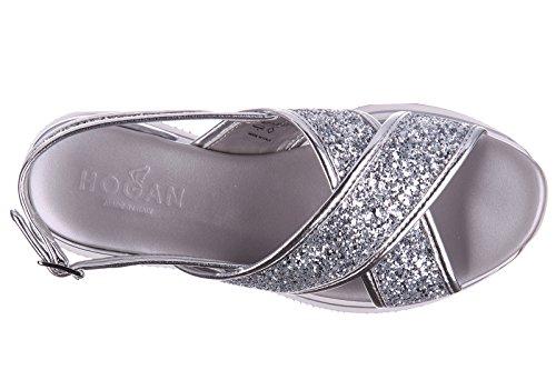 Hogan Kvinders Læder Sandaler Sandaler H257 Glitter Fasce Incrociate Sølv IfIjFd