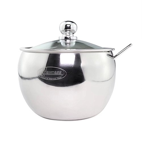 Newness Stainless Steel Sugar Bowl With Clear Lid For Better Recognition  And Sugar Spoon For Home And Kitchen  Drum Shape  8 1 Ounces 240 Milliliter