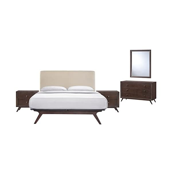 Modern Urban Contemporary 5 pcs Queen Size Bedroom Set, Beige Fabric Wood