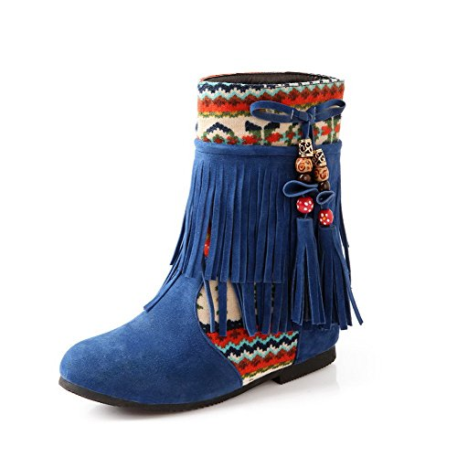 AgooLar Women's Imitated Suede Low-Top Assorted Color Pull-On Kitten-Heels Boots Blue