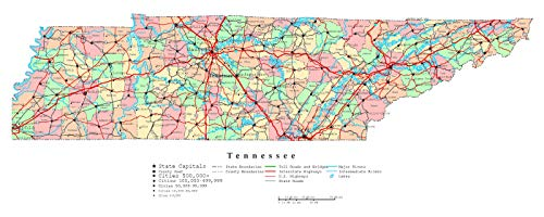 (Home Comforts Laminated Map - Large Detailed Administrative map of Tennessee State with Roads, Highways and Cities Poster 24 x 36)