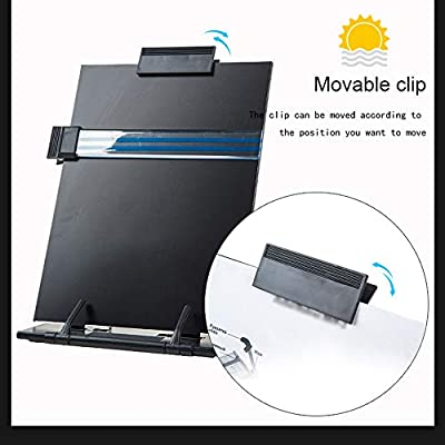 Black Metal Desktop Document Holder with 7 Adjustable Positions and Adjustable Clip and Line Guide for Typing Reading(Black)