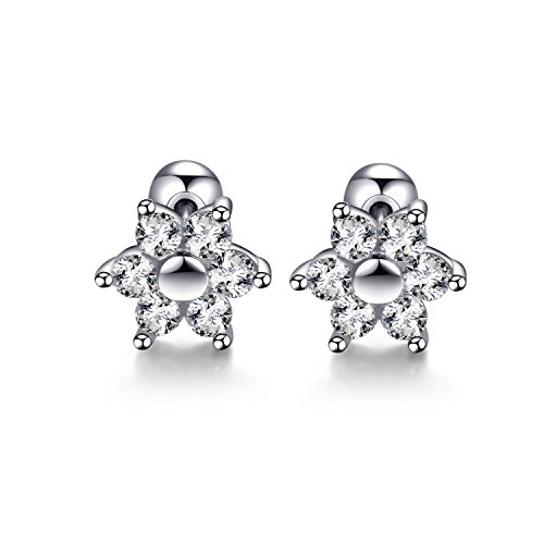 18g Stainless Steel Flower Cartilage Earring Cubic Zirconia Helix Piercing Earrings(White)