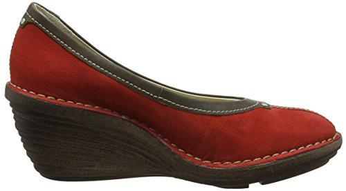 Fly London P300621006, Zapatos de Cuñas Mujer Rojo (Scarlet/Khaki 006)