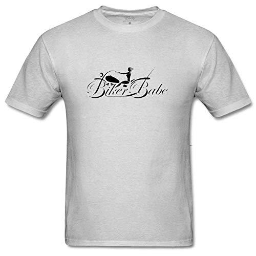 Men's Biker Babe Funny Floral Print T Shirt Creative Graphic Short Sleeve T-Shirt Classic Tee M Gray