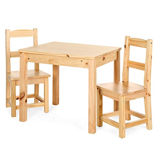 (Best Choice Products 3-Piece Kids Toddlers Multipurpose Wooden Activity Table Furniture Set for Nursery, Bedroom, Play Room, Living Room, Classroom w/ 2 Chairs - Natural)