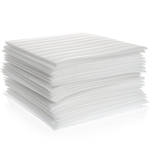 """Cushion Foam Sheets12"""" x 12""""(50 Count), Packing Supplies for Moving, Safely Wrap Dishes, Glasses & Furniture Legs by California Basics"""