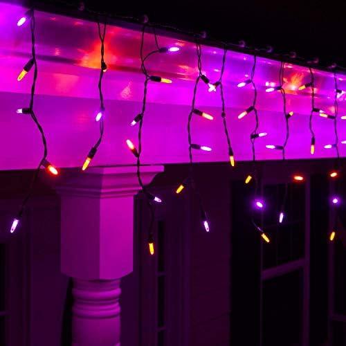 Amazon Com Halloween Icicle Lights 70 Purple And Orange Mini Led Lights On Black Wire 7 Ft Fun House Halloween Decorations Party Lights 70 Icicle Lights Home Improvement