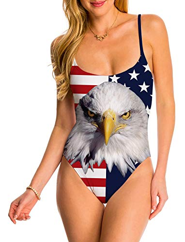 - Women's One Piece Swimsuit America Flag Independence Day 4th of July Adjustable Spaghetti Strap Swimwear Monokini Padded Bathing Suit 80s 90s Clothes Sling Athletic Training Control Beachwear