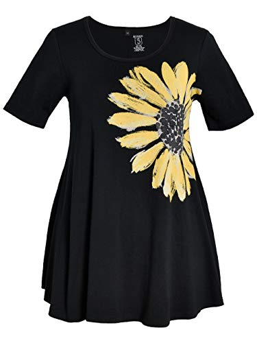 - Green 3 Spring Short Sleeve Tunic Top - 100% Organic Cotton Womens T Shirt, Made in The USA (Daisy on Black, XX-Large)