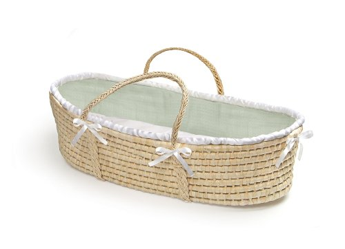 Find Cheap Badger Basket Company Natural Baby Moses Basket - Sage Waffle Bedding