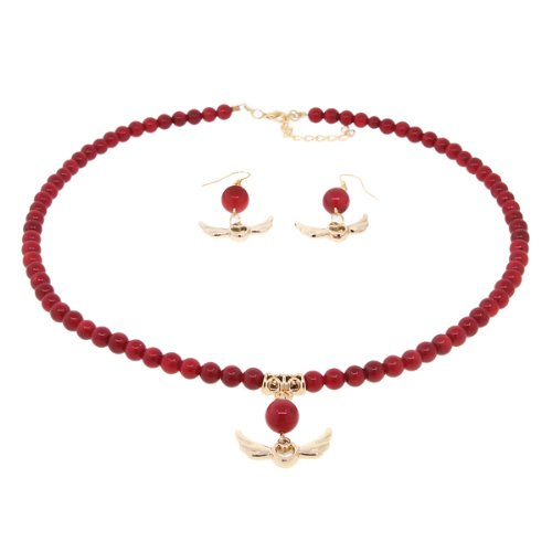 Gem Stone King 18inches Round 6mm Red Simulated Coral Gold Heart and Angel Wings Necklace and Earrings Set