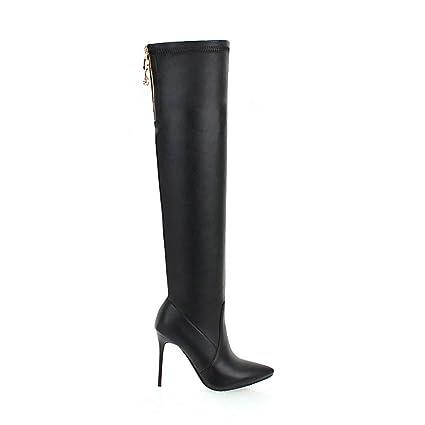 8e6a1cd643d Amazon.com: ODOKAY Over The Knee Boots Pu Leather Sexy Thin High ...